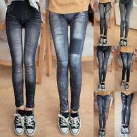 Mode Femme Slim Skinny Extensible Leggings en Simili Denim Délavé Pantalons 04