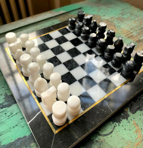 Vintage Marble Chess Board Set Handmade Black & White Classic and Sleek