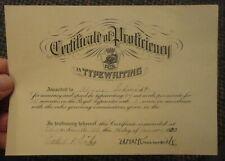 1930 Royal Typrewriters Certificate of Proficiency Edwardsville Illinois