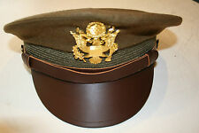 US WW2 ARMY OFFICERS PEAKED OLIVE VISOR CAP