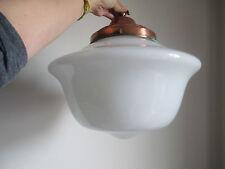 Art Deco HUGE Milk White Glass Light Fitting Ceiling Pendent Light Copper Galler