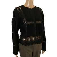 SCULLY Top Cardigan Black Suede & Crochet Boho Western Button Front Statement