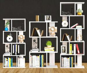 Tall Bookshelf Bookcase Display Unit Divider 3/4/5 Tiers S Shape Storage Stand
