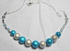"12mm Blue + white Miracle beads, 22"" necklace, stars"
