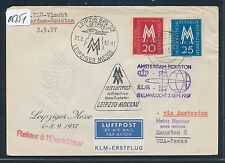 06351) KLM FF Amsterdam - Houston USA 3.9.57, Brf ab Dresden DDR mit Messe LP