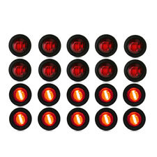 "10/20/30x Mini 3/4"" 3 LED Round Side Marker Indicator Lights Truck Trailer Lorry"