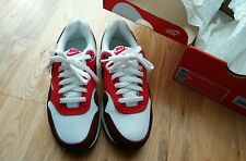 NEW NIKE Air Max 1 GS White Red Trainers Size 37.5
