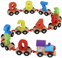 My First Wooden Number Train Toy Set Railway Kid Early Counting Learning Toy