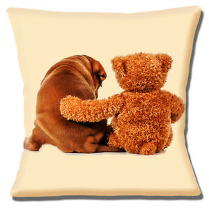 """NEW CUTE TAN BROWN PUPPY AND TEDDY CUDDLING ON CREAM 16"""" Pillow Cushion Cover"""