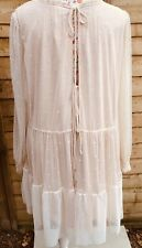 H&M womens pretty layered dress colour light peach size XL