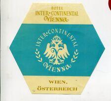 Vintage Hotel Luggage Label INTERCONTINENTAL VIENNA  Wien Austria