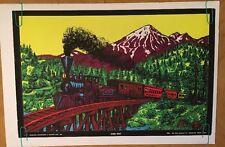 Going West Vintage Houston Blacklight Poster Train Locomotive George Goode 70