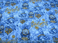 1 Yard Quilt Cotton Fabric - Springs The Polar Express Scene Train on Blue Swirl