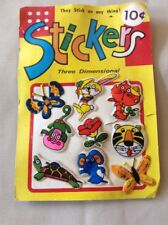 "Vintage Vending Display Card ""Three Dimensional Stickers"" Turtle Tiger Monkey"