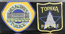 Obsolete Des Moines Iowa & Topeka Kansas Police Shoulder Patches