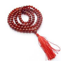 6MM 108 Red Agate Gem Beads Bracelet Tibet Buddhist Prayer Mala Necklace Tassel