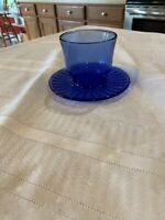 VINTAGE COBALT BLUE GLASS DISH WITH ATTACHED UNDER PLATE/SAUCER