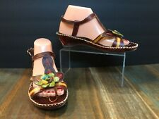 L'Artiste by Spring Step Women's Floral Poolside Tooled Leather Sandals Sz 38/8