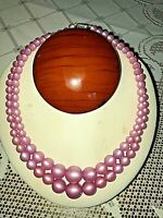 Mauve Moonglow Choker Necklace Vtg 50s Double Strand Lucite Beads EXC