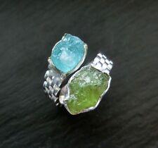 Apatit & Peridot Rohstein Ring 925 Sterlingsilber Größe 60 R1218
