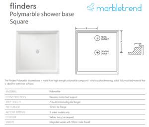 SB40CW BASE SHOWER 1000X1000 WH R/O FLINDERS MARBLELITE