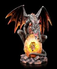 Lava Drachen Figur bewacht Brut - Fantasy Drachenmutter Drachenbaby Dekostatue