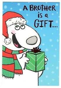 DOG HOLDING PRESENT BROTHER Hallmark Christmas Greeting Card w/ Envelope MG19