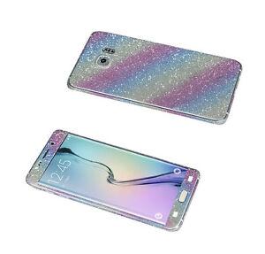 Glitzerfolie Samsung Galaxy S6 Edge Glitter Bling Sticker Schutz Folie Rainbow