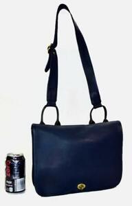 New Vintage Coach Bonnie Cashin 1973 Suspender Musette Midnight Blue Leather Bag