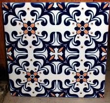 Portuguese old blue intricate and beautiful,decorative CERAMIC TILE design 2