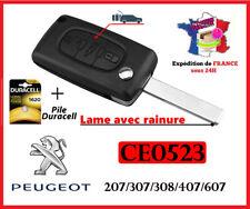 Coque Clé  Plip Boitier CE0523  Peugeot 207 307 308 407 607 807 3 boutons + pile