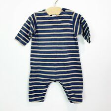 Petite Bateau Infant Boys Blue Brown Striped One Piece Romper Size 6 Months