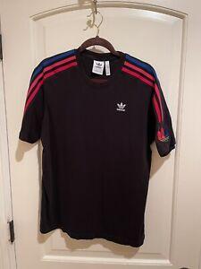 Mens Adidas Black T-Shirt w/ Blue/Pink/Red Stripes