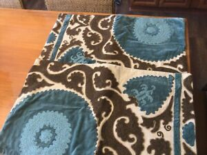"Two Pottery Barn Suzani Embroidered Pillow Covers 25"" x 16""Blue Tan Brown"