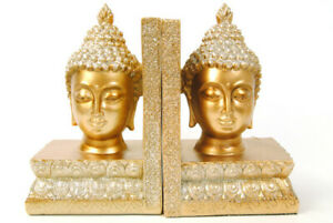 Bookends Buddha Head Ornaments Gold with Glitter Set of 2 Book ends Resin.