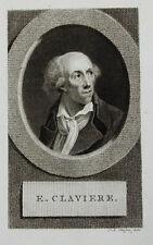c1800 Claviere Etienne Französische Revolution Kupferstich-Porträt Claessens