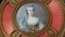 Best Splendid Antique French Powder Jar w/Portrait Guilloche Bronze Frame