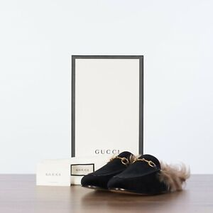 GUCCI 850$ Princetown Slippers In Black Velvet With Lamb Fur Lining