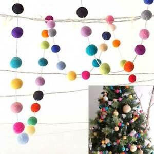 MULTI COLOUR garland Colourful Felt balls Pom Pom Christmas Tree Party Decor