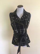CAbi Black Plaid Moto Vest w Faux Leather Belt Wool Blend Zip 517 Size Medium