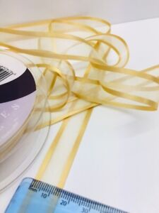 2m Berisfords Gold Trimmed Sheer Ribbon. Art 9902 Col 678. 15mm Wide