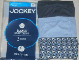 JOCKEY Elance Cotton No Fly Bikini Briefs 3 pack - Medium (32-34), blues