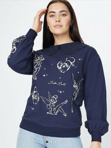 George Bnwt Disney Peter Pan Tinker Bell Navy Collared Jumper Sweat Size M 12/14