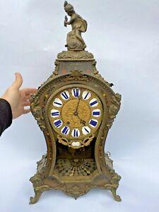 CRUZY A PARIS ANCIEN CARTEL PENDULE EN BRONZE ET MARQUETERIE BOULLE XIXEME CLOCK