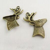 Antiqued Bronze Color Vintage Alloy Deer Head Antler Charms Pendant Decor 2 pcs