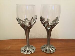 Seagull Fine Pewter Vintage 1994 Wine /water Glasses x2 Floral Iris RARE ITEMS