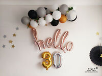 Rose Gold Balloons Letters Silver Birthday Party Custom Wedding Hello 30 Script