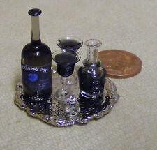 1.12 decanter & port bouteille avec 2 verres sur un plateau métallique dolls house miniature