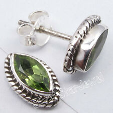 "925 Solid Silver Unseen PERIDOT ANTIQUE STYLE Post Earrings 3/8"" OXIDIZED"