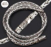 """WOVEN ARTISAN SNAKE CHAIN ROPE MENS NECKLACE 925 STERLING SILVER 18 20 22 24 26"""""""